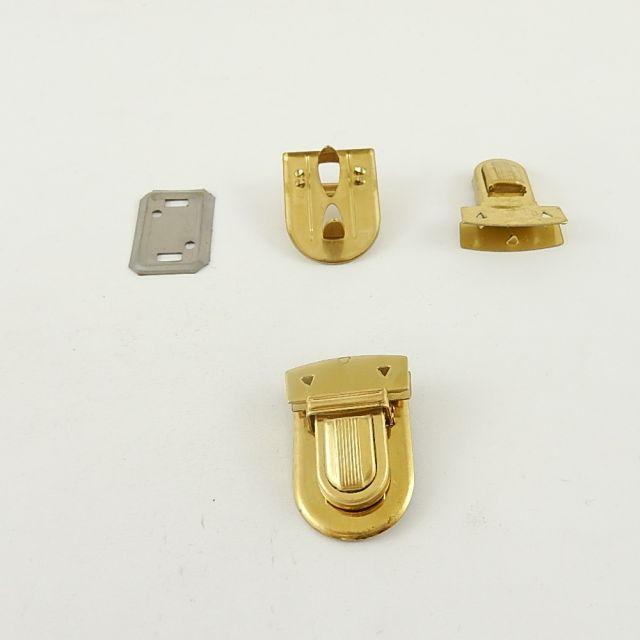 Steckschloss zum quetschen, 3-teilig, Eisen, vermessingt, L: 35 mm x B: 23 mm